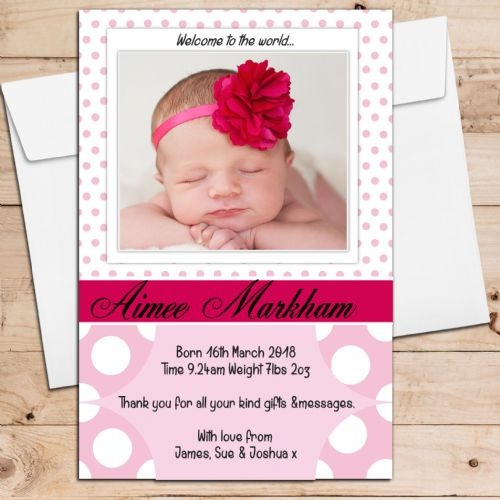 10 Personalised Baby Girl Birth Announcement Thank You PHOTO Cards N13